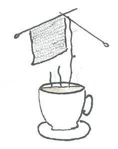 il filo di fumo del caffè diventa il filo per il lavoro a maglia in questa opera si Silvia Scardovi che interpreta il knit cafè